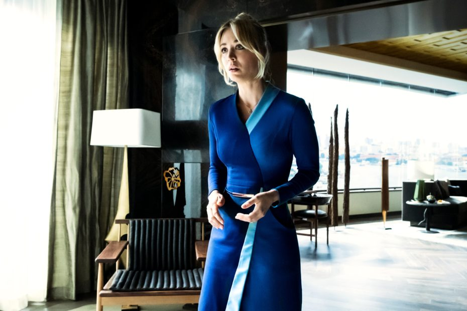 <p>Cassie (Kaley Cuoco) wakes up in a crime scene after a big night</p>